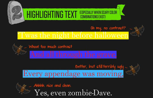 Highlighting text with improper color codes