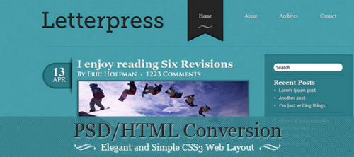 PSD HTML Conversion Elegant and Simple CSS3 Web Layout