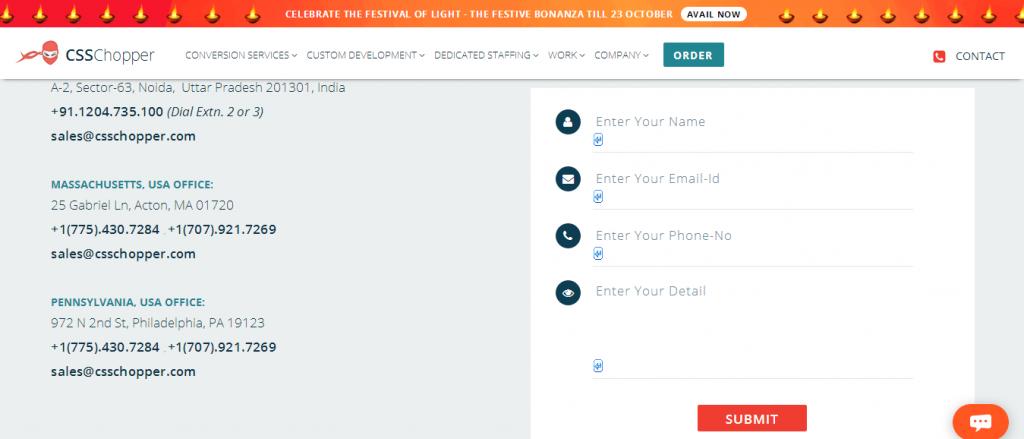 Contact form for desktop