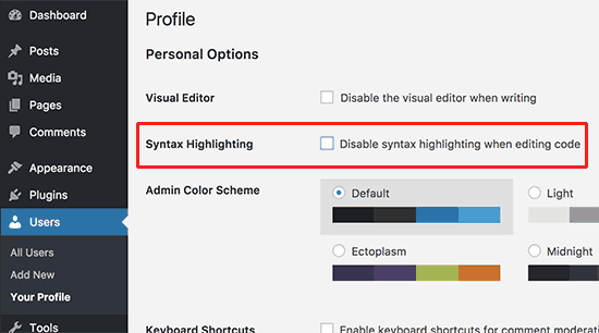 disable the syntax highlighting option