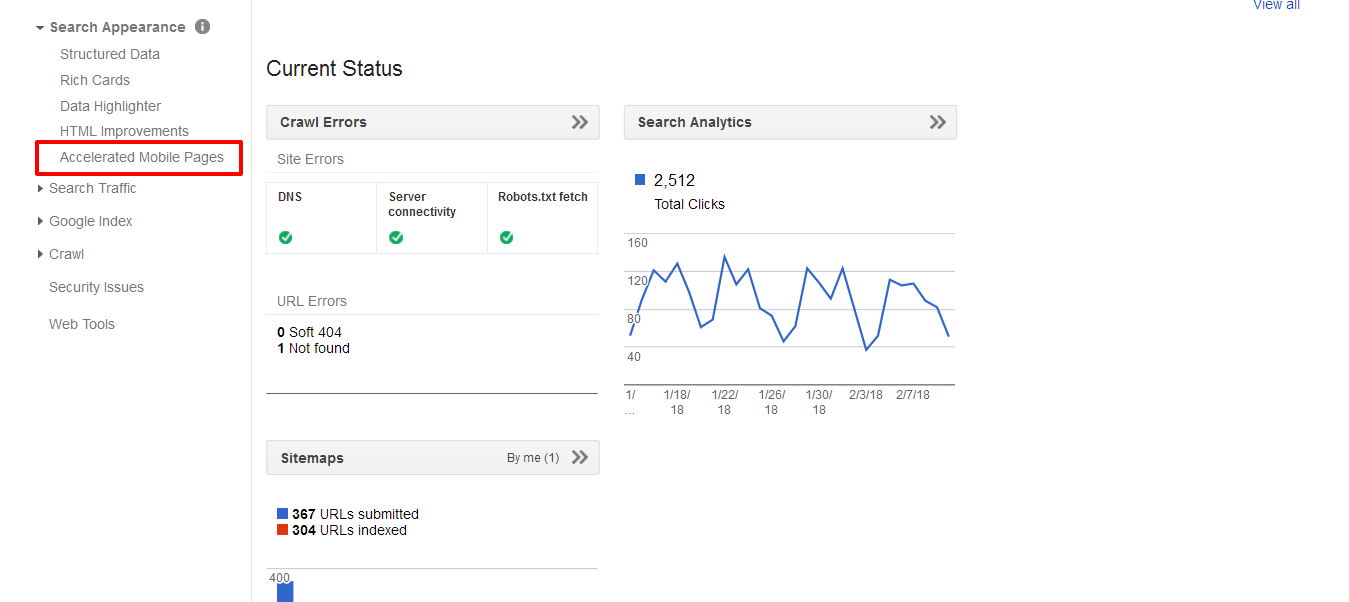 AMP content within the Google search console