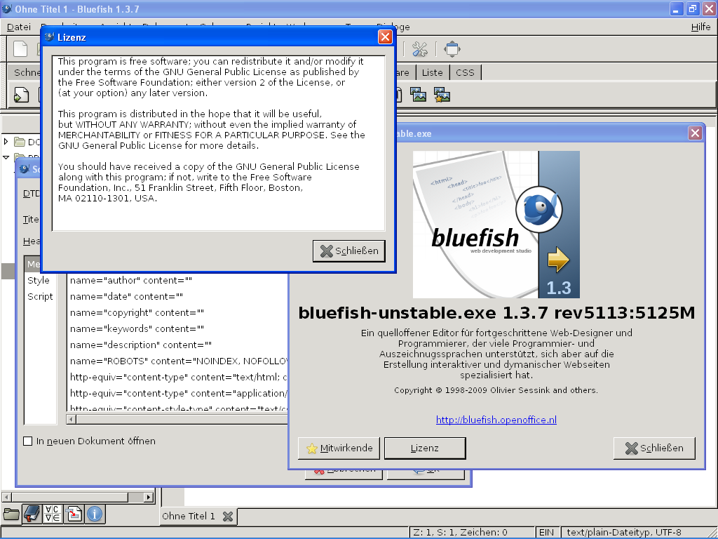 Bluefish HTML editor