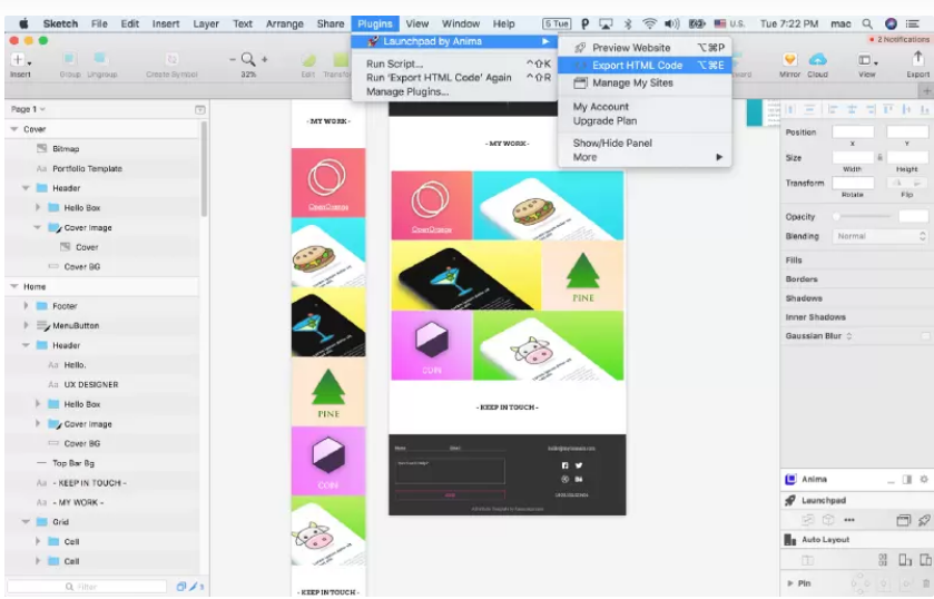 Step 1: Export the Code to begin Sketch To HTML Conversion